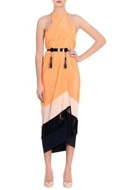 black & orange color block sarong