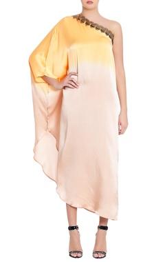 saffron & cream one-shoulder pure silk  kaftan
