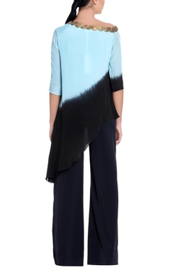 blue & black ombre long blouse
