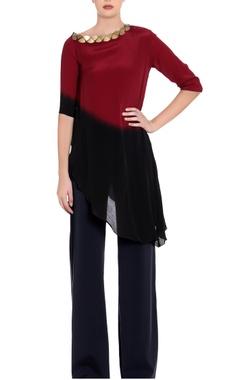 maroon & black ombre asymmetric blouse