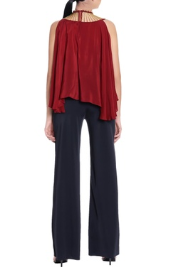 maroon crepe silk blouse with embellishments