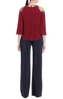 maroon cold-shoulder crepe silk blouse