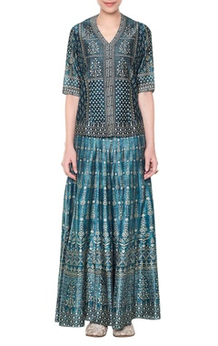 green printed palazzo with top