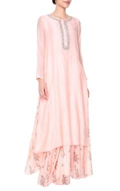 blush pink embroidered straight kurta set