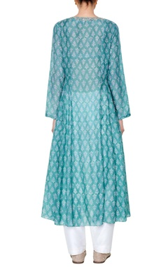 sage green embroidered tunic