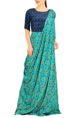 Blue printed sari gown