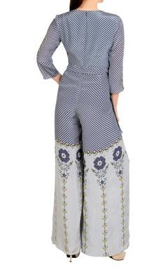 purple printed crepe silk jumpsuit
