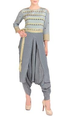 Blue & yellow dhoti style jumpsuit