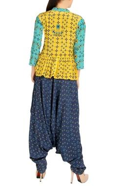 Blue jumpsuit with floral jacket