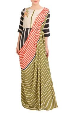 multicolored stripe concept sari