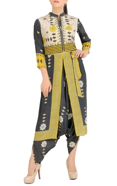 SOUP by Sougat Paul Black & yellow printed jumpsuit with jacket