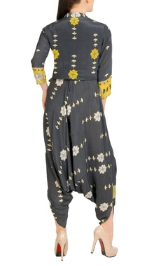 Black & yellow printed jumpsuit with jacket