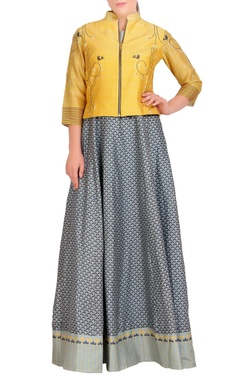 SOUP by Sougat Paul Grey flared anarkali with jacket