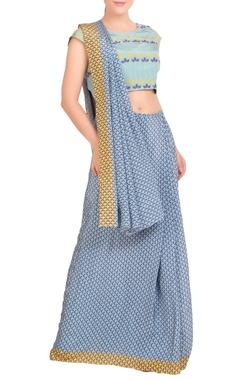 Blue & yellow printed sari with blouse