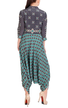 charcoal grey printed jumpsuit with jacket