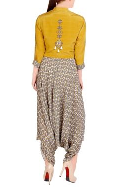 grey printed jumpsuit with mustard blouse