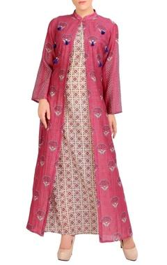 pink printed jacket & maxi dress