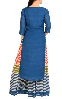 blue crepe kurta with maxi skirt