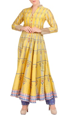 yellow flared anarkali with pants