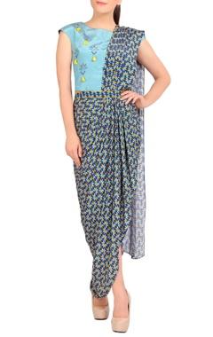 blue concept sari with blouse
