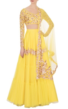 Yellow net tiered lehenga set