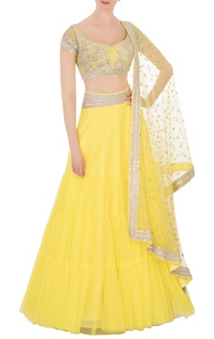 Neeta Lulla Yellow silver sequin embellished lehenga set