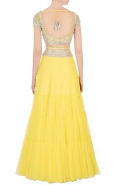 Yellow silver sequin embellished lehenga set
