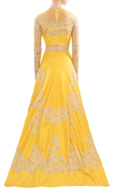 Yellow raw silk & net lehenga set