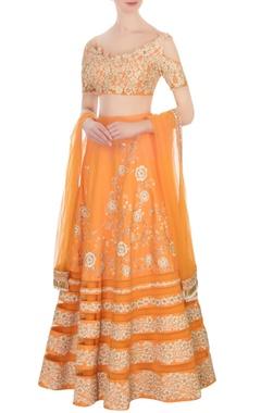 pastel orange floral embroidered lehenga set