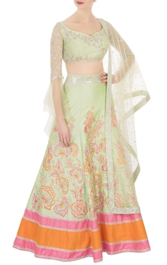 Neeta Lulla Green raw silk sequin embellished lehenga set