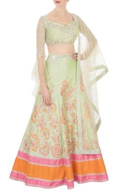 green raw silk sequin embellished lehenga set