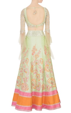 Green raw silk sequin embellished lehenga set