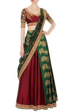 Neeta Lulla Maroon & green kanjivaram lehenga silk sari set
