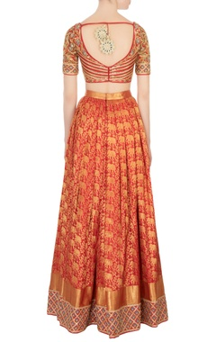 Red & maroon kanjivaram silk lehenga set