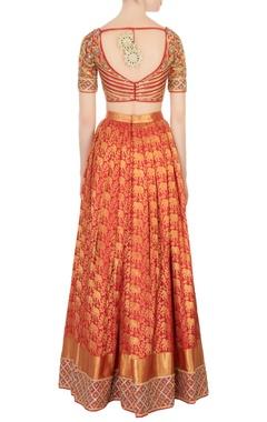 red & maroon kanjivaram silk lehenga set