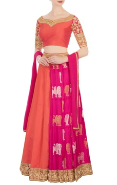 Orange & pink kanjivaram lehenga set