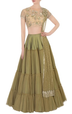 green lehenga & beige embroidered blouse with dupatta