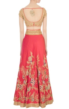 coral red embroidered lehenga set