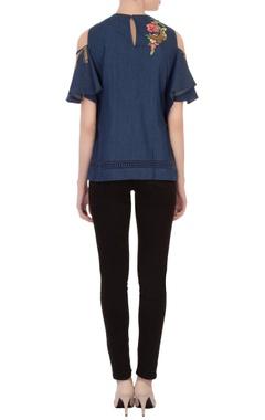 blue embroidered cold shoulder denim tunic