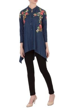 blue embroidered denim asymmetric tunic