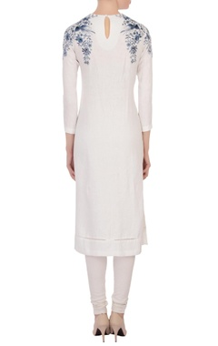 off-white long kurta with embroidery