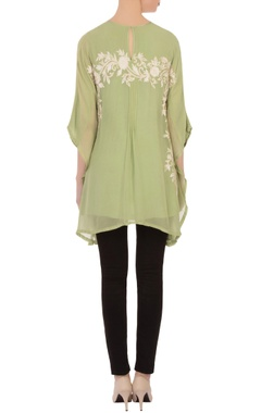 Green aari embroidered kaftan