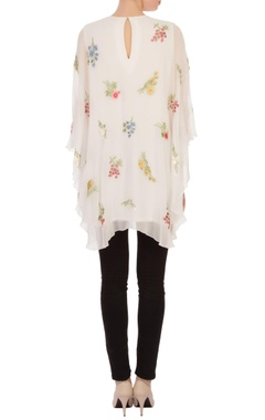 white floral embroidered cape tunic