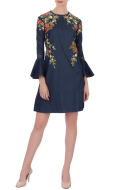blue denim embroidered shift dress with bell sleeves