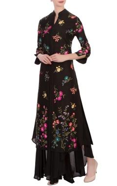 black floral embroidered jacket & flowy pants