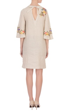 beige linen embroidered short dress