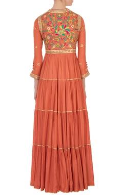 orange voile & silk gota maxi dress