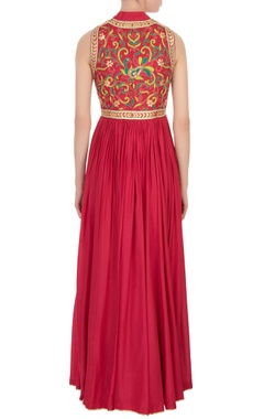 red peacock motif gota embroidered dress