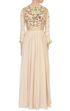 cream gota & thread embroidered dress