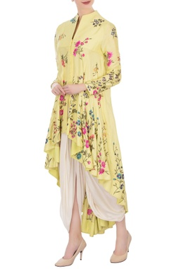 yellow high low kurta with off white dhoti